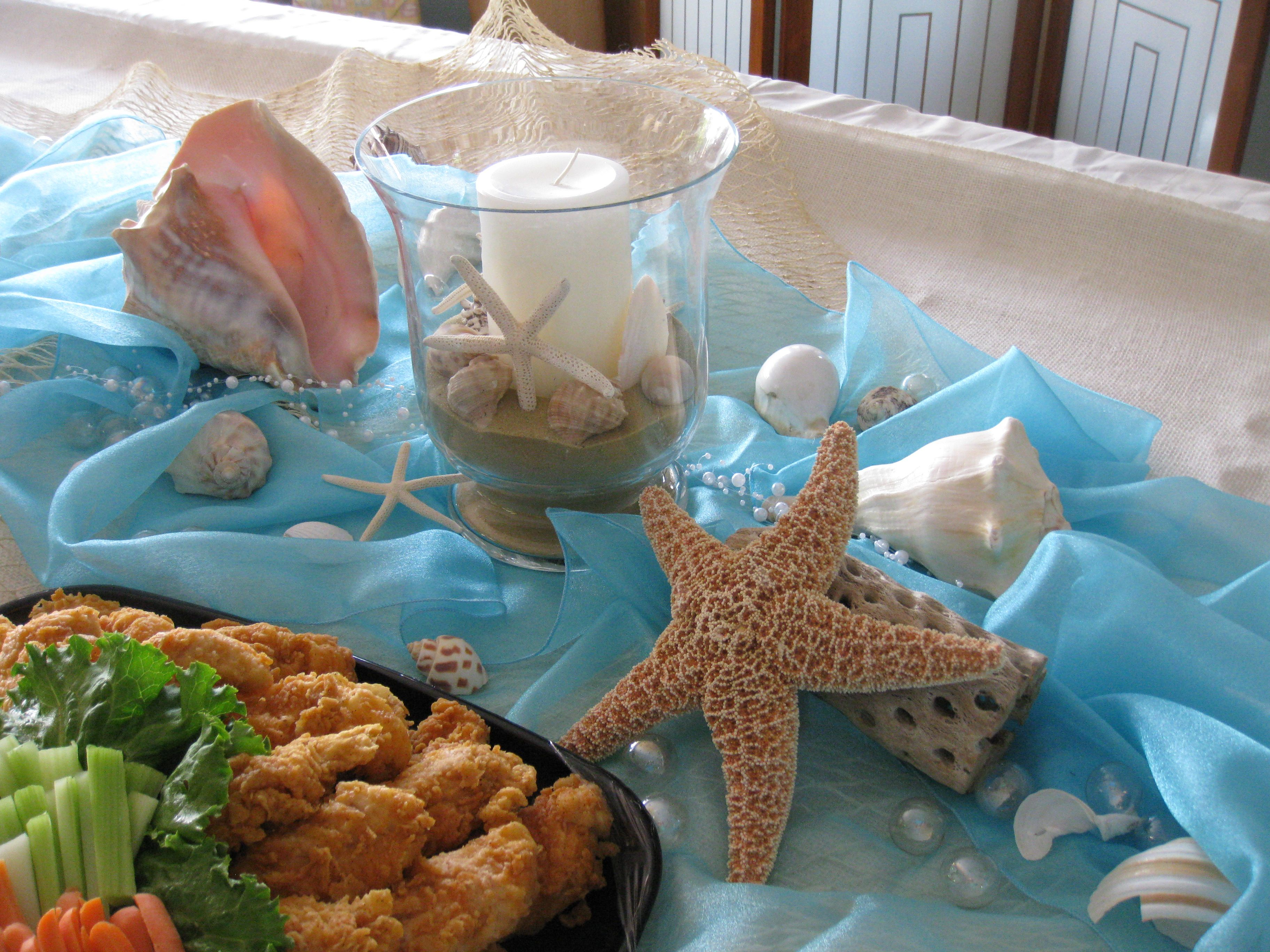 beach themed bridal shower menu ideas%0A Beach Baby Shower  Kari  like the colors and shells and sea stars