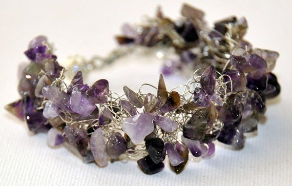 Natural Polished Amethyst Chips Crocheted on by ggChambersDesigns, $45.00