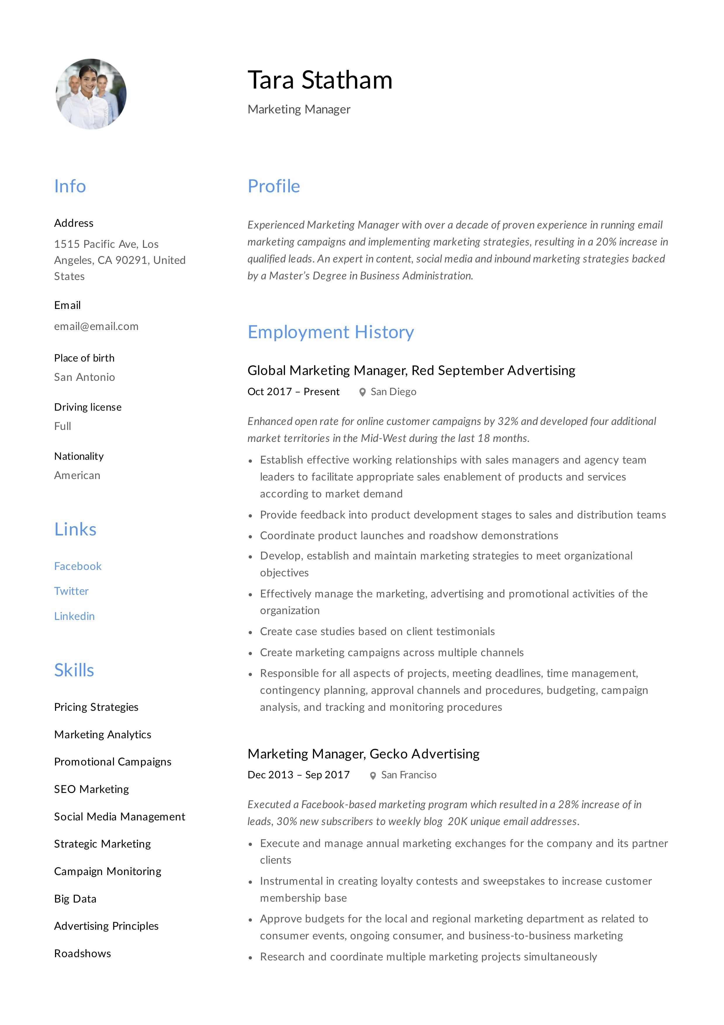 marketing manager resume + writing guide in 2020 for first timer business administration skills acting template word
