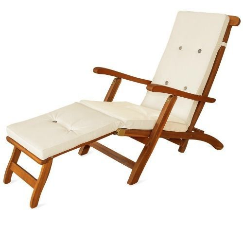 Beige Cushions Pad Waterproof Sun Lounger Recliner Steamer Chair Seating  Pad #PatioCushions