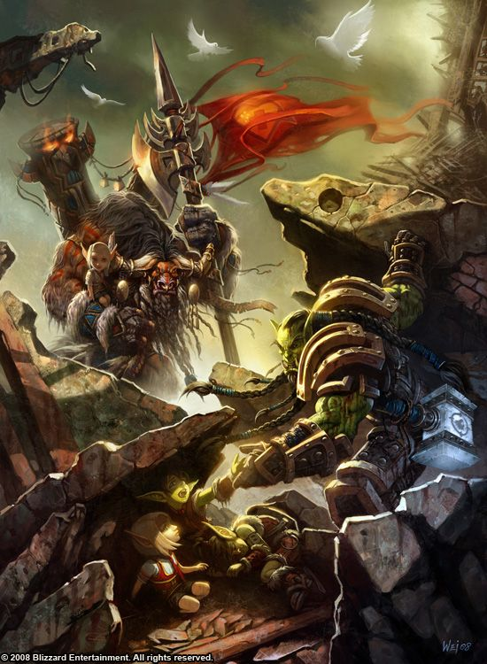 warcraft fan art gallery baine bloodhoof thrall rescuing orphans