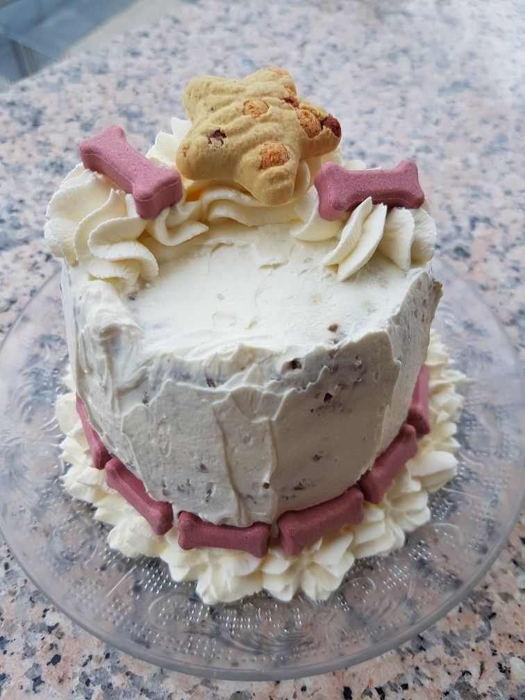 Birthday cake for dogs Made with minced meat cream cheese and dog