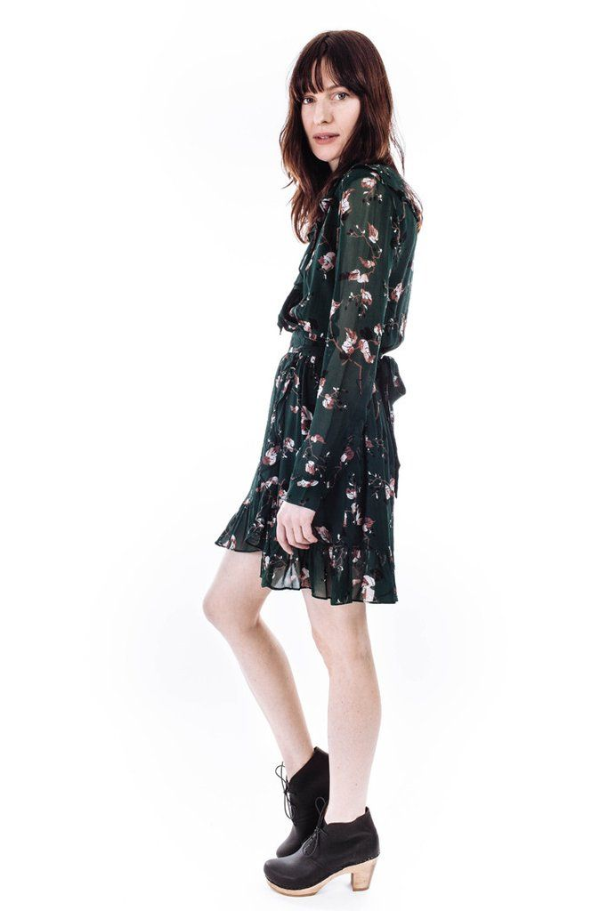 41e6b972 Marietta Georgette Wrap Dress in Pine Grove Leaves by Ganni #shopwmgoods