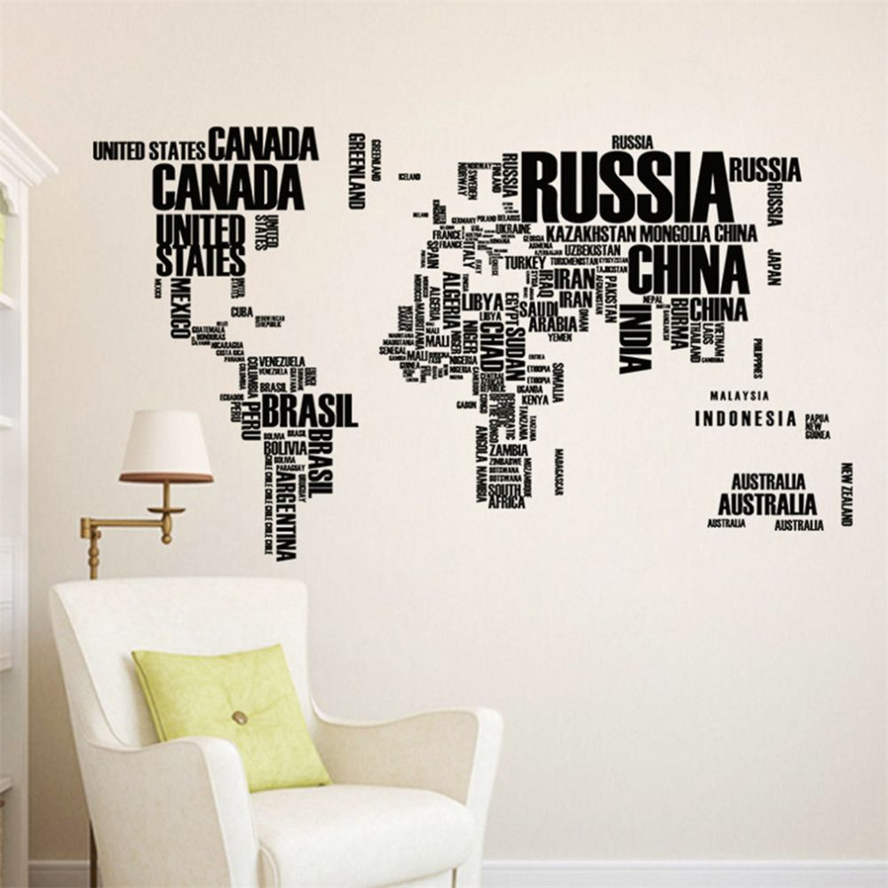 Pvc wall sticker travel world map letter printed bedroom art wall pvc wall sticker travel world map letter printed bedroom art wall decorative stickers for home living gumiabroncs