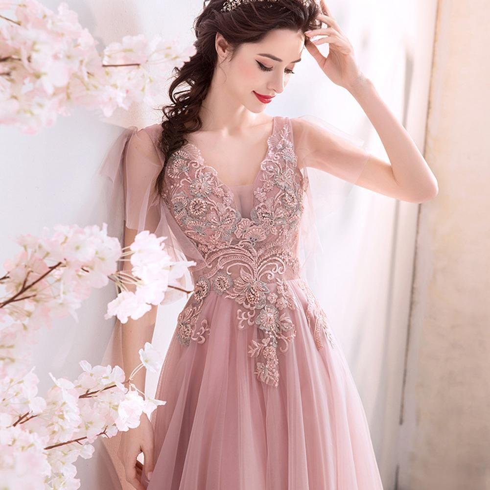 V-Neck Chiffon Lace Maxi Dress   Maxi dress prom, Lace ...