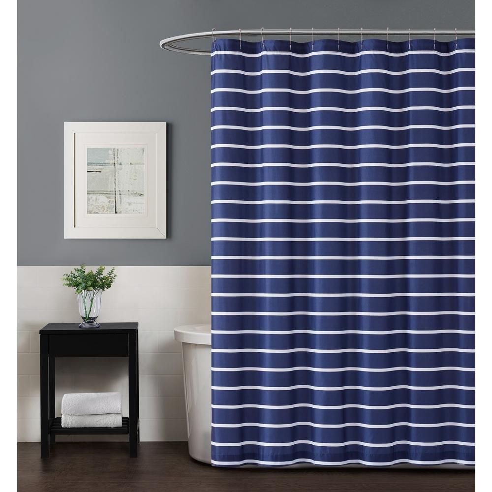 Truly Soft Maddow Stripe 72 In Navy Shower Curtain Blue Striped Shower Curtains Curtains Colorful Curtains