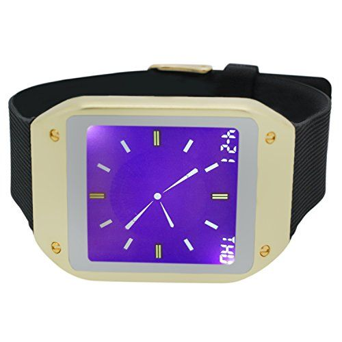 Techno Pave Digital Touch Screen Gear Square Face Gold With Black