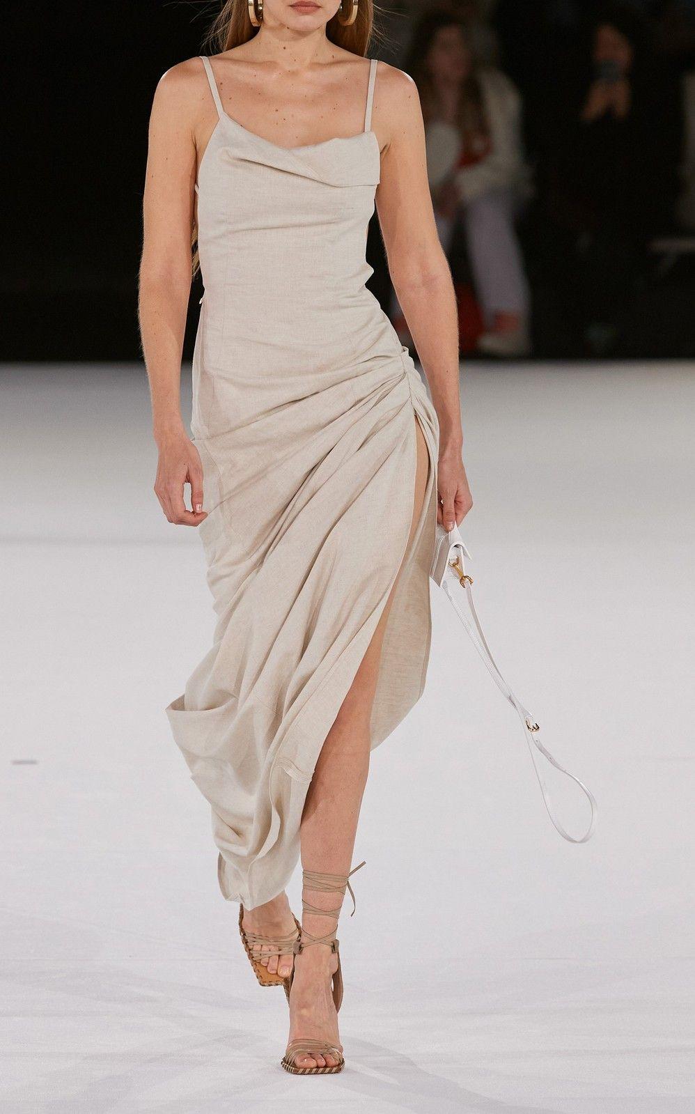 Photo of Jacquemus Saudade Gathered Cotton-Blend Maxi Dress