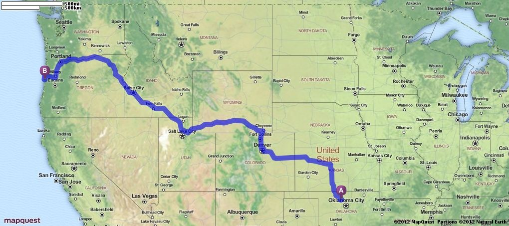 Driving Directions from Enid Oklahoma to Drift Creek Oregon