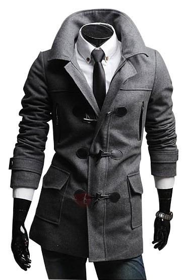 3dee5bdac43e Horn Button Double-Breasted Mens Top Coat   Pinterest