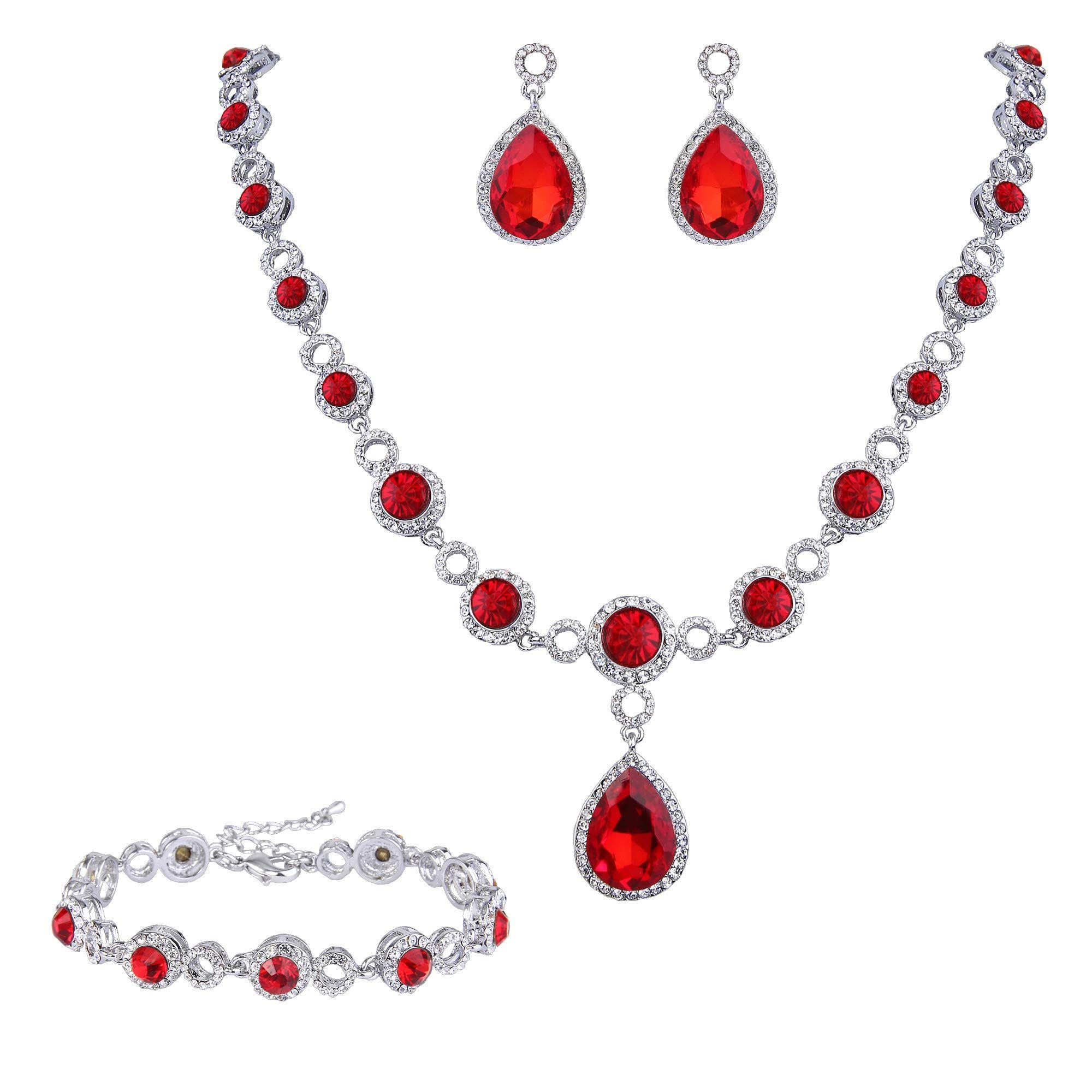 EleQueen Womens Silver-Tone Cubic Zirconia Teardrop Bridal Y-Necklace Bracelet Dangle Earrings Set