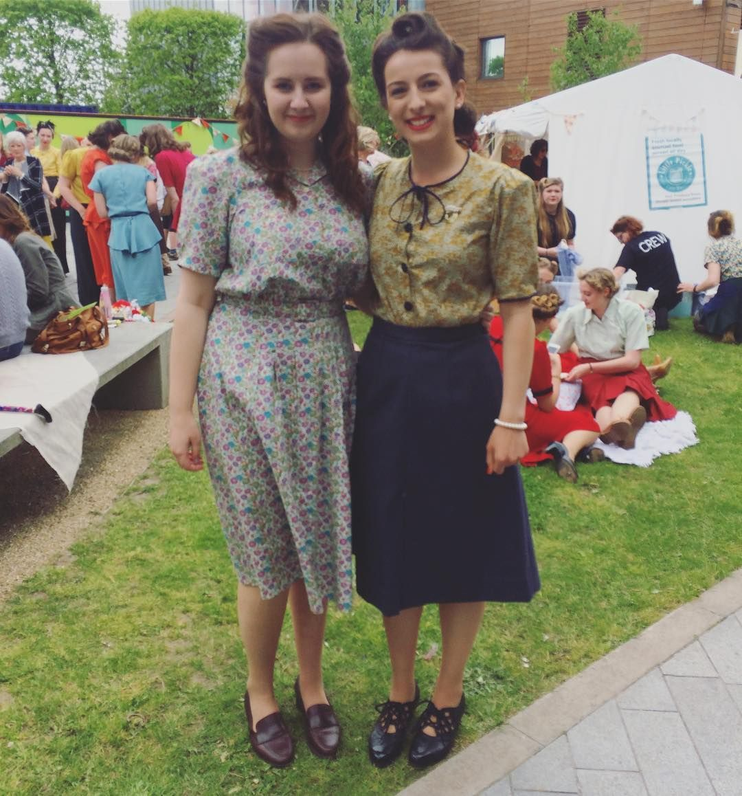 df1ec598a4c2d Throwback to our first year 1940s Jambusters flash mob. The 1940s utility  dress I made on the left modelled with full period hair makeup and  accessories by ...