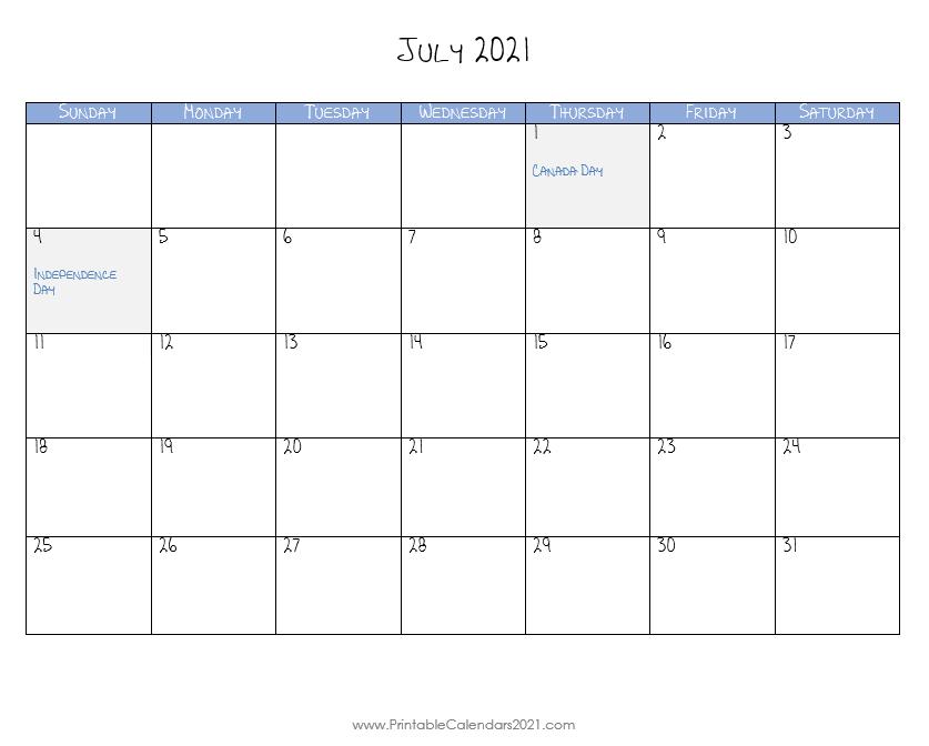 Calendar July 2021 In 2020 Printable Calendar Calendar Printable Calendar July