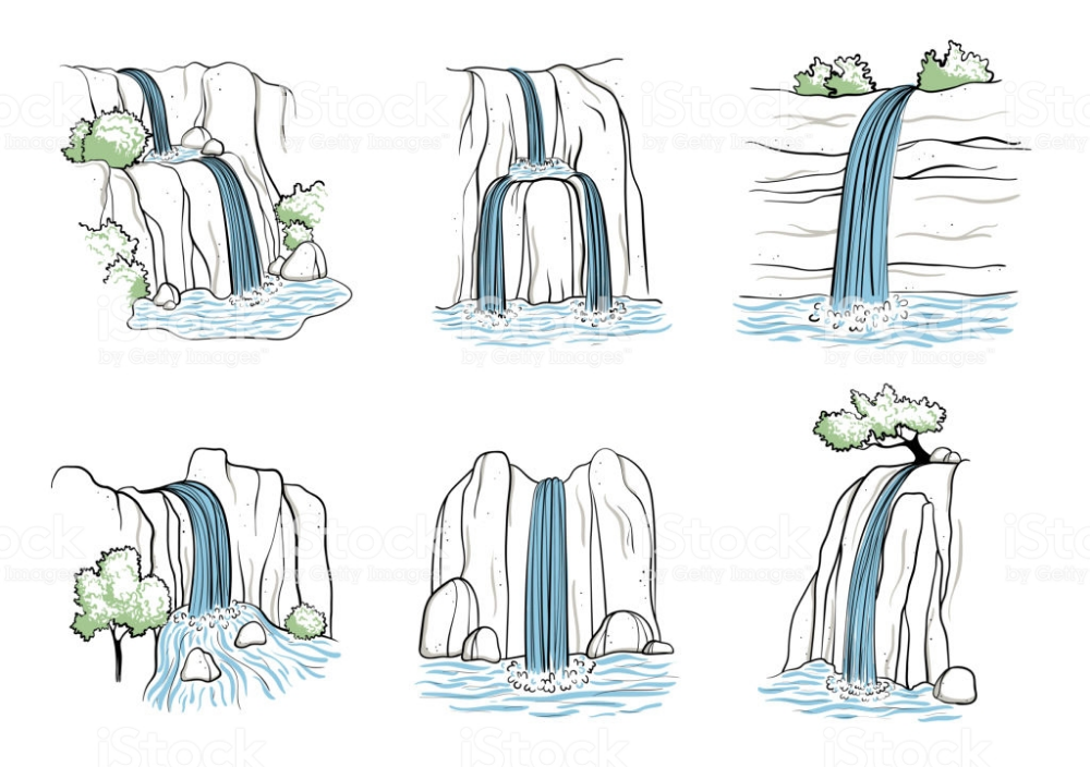 Set Of Vector Illustration Of Waterfall Water Stream Falling Of Fall Drawings Waterfall Sketch Waterfall Drawing