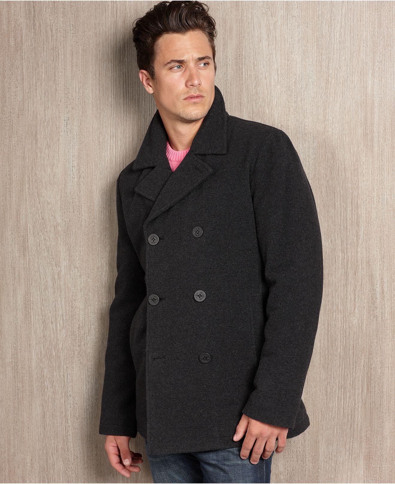 Guess Coat Wool Blend Plush Pea Coat Mens Coats Jackets Macy S Peacoat Outerwear Jackets Mens Coats [ 1616 x 1320 Pixel ]