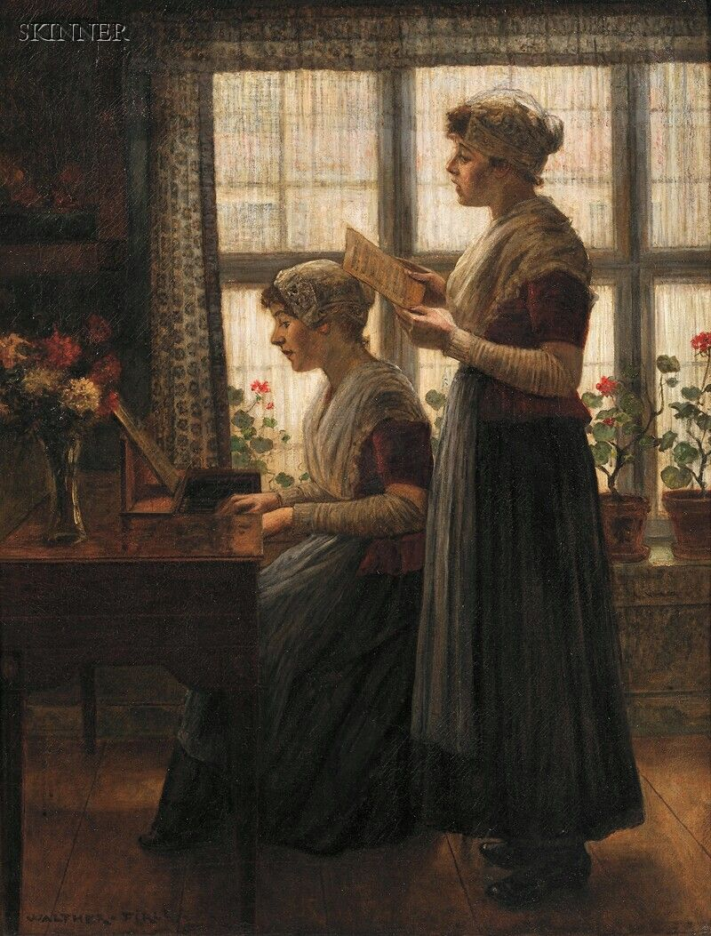 WALTER (WALTHER) FIRLE (GERMAN, 1859-1929) THE SONG SIGNED WALTHER.FIRLE. L.L. OIL ON CANVAS, 37 5/8 X 28 7/8 IN. (95.5 X 73.3 CM)... - AMERICAN & EUROPEAN PAINTINGS & PRINTS - SALE 2598B - LOT 264 - Skinner Inc