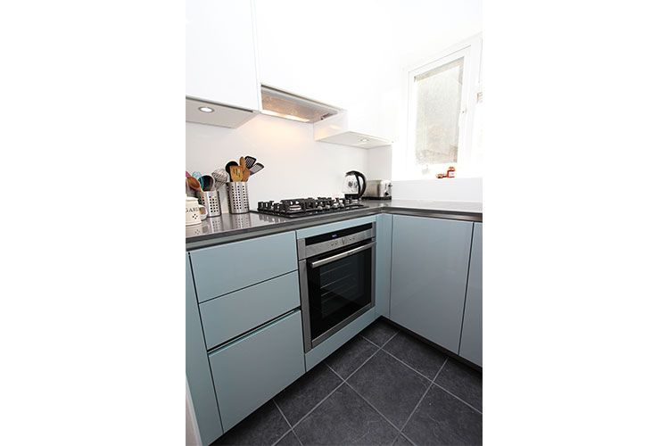 Ocean Blue And White Gloss Metallic Kitchen