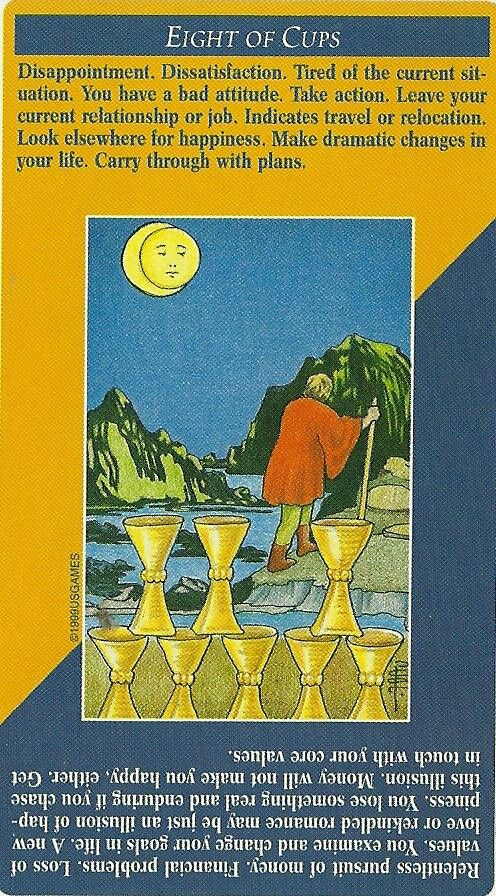 8 of Cups | Tarot card meanings. Daily tarot reading. Tarot meanings