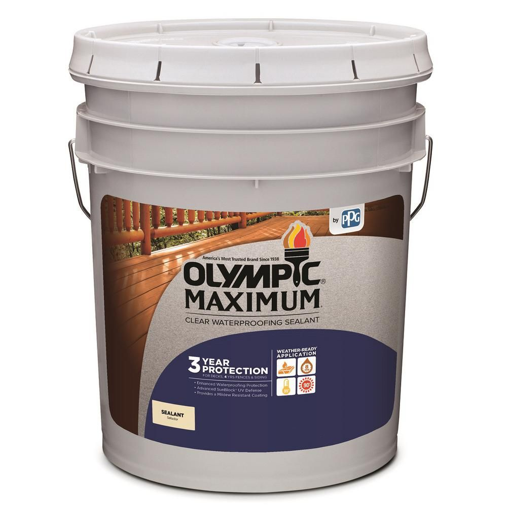 Olympic Maximum 5 Gal Clear Exterior Waterproofing Sealant 57500a 05 The Home Depot Exterior Stain Wood Sealer Sealant