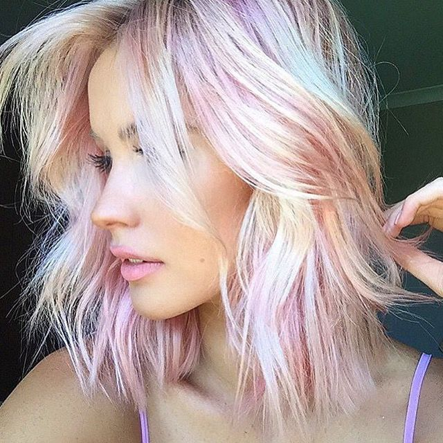 Fun Summer Color Bits Of Light Pink Try Elumen Pk All With Clear Holographic Hair Hair Styles Hair Color Pastel