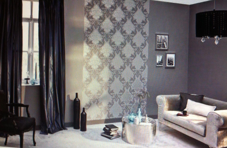 Mur gris et tapisserie baroque  Décoration salon papier peint
