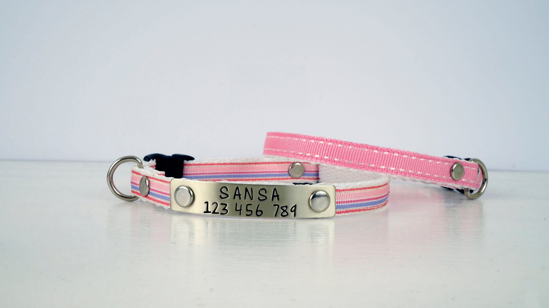 Pink Collar Kitten Collar Ribbon Collar Safety Cat Collar Kitten Size Or Large Size Kitten Collars Pink Collars Cat Collars