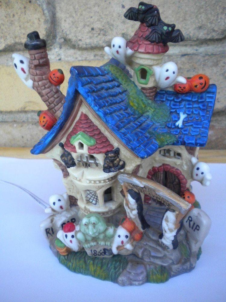 Halloween Haunted House Ceramic Lighted Decor 65\ - halloween lighted decorations