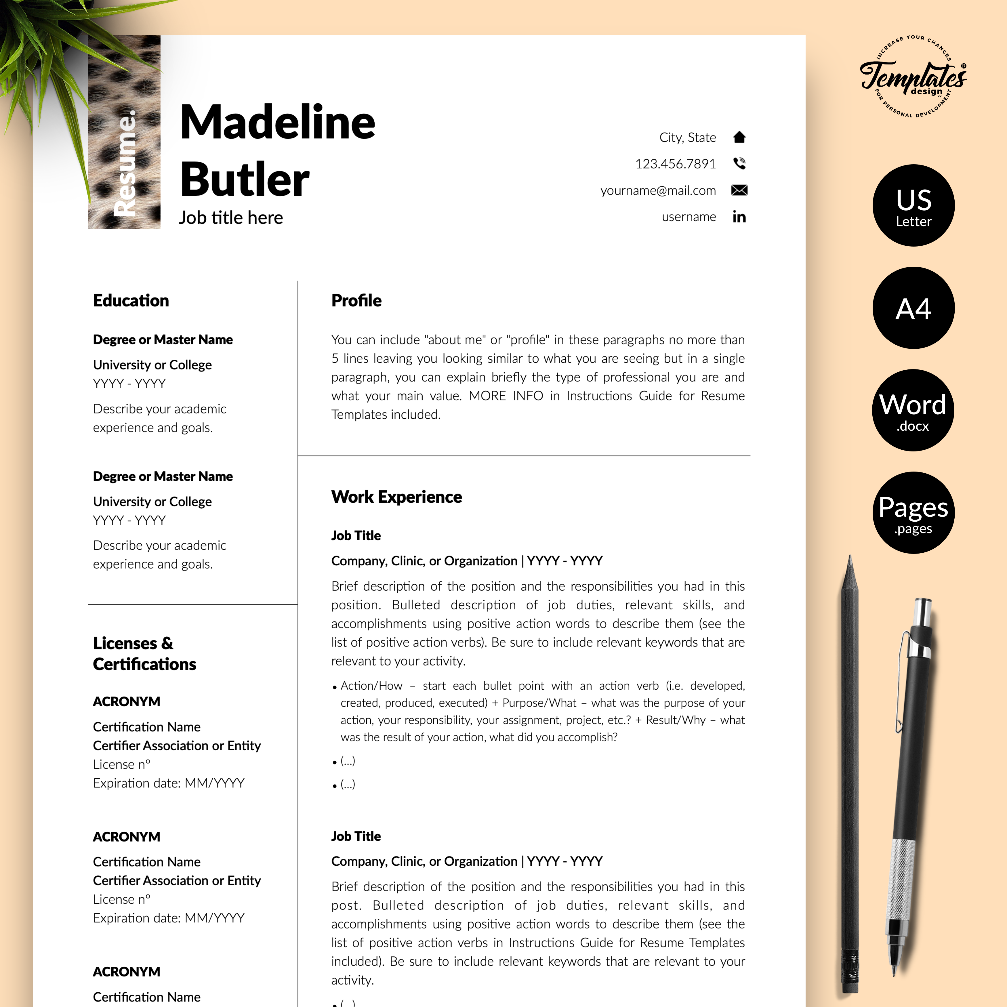 Professionelle Lebenslauf Vorlage Fur Microsoft Word Und Apple Pages Resume Template Reference Letter Template Cv Template