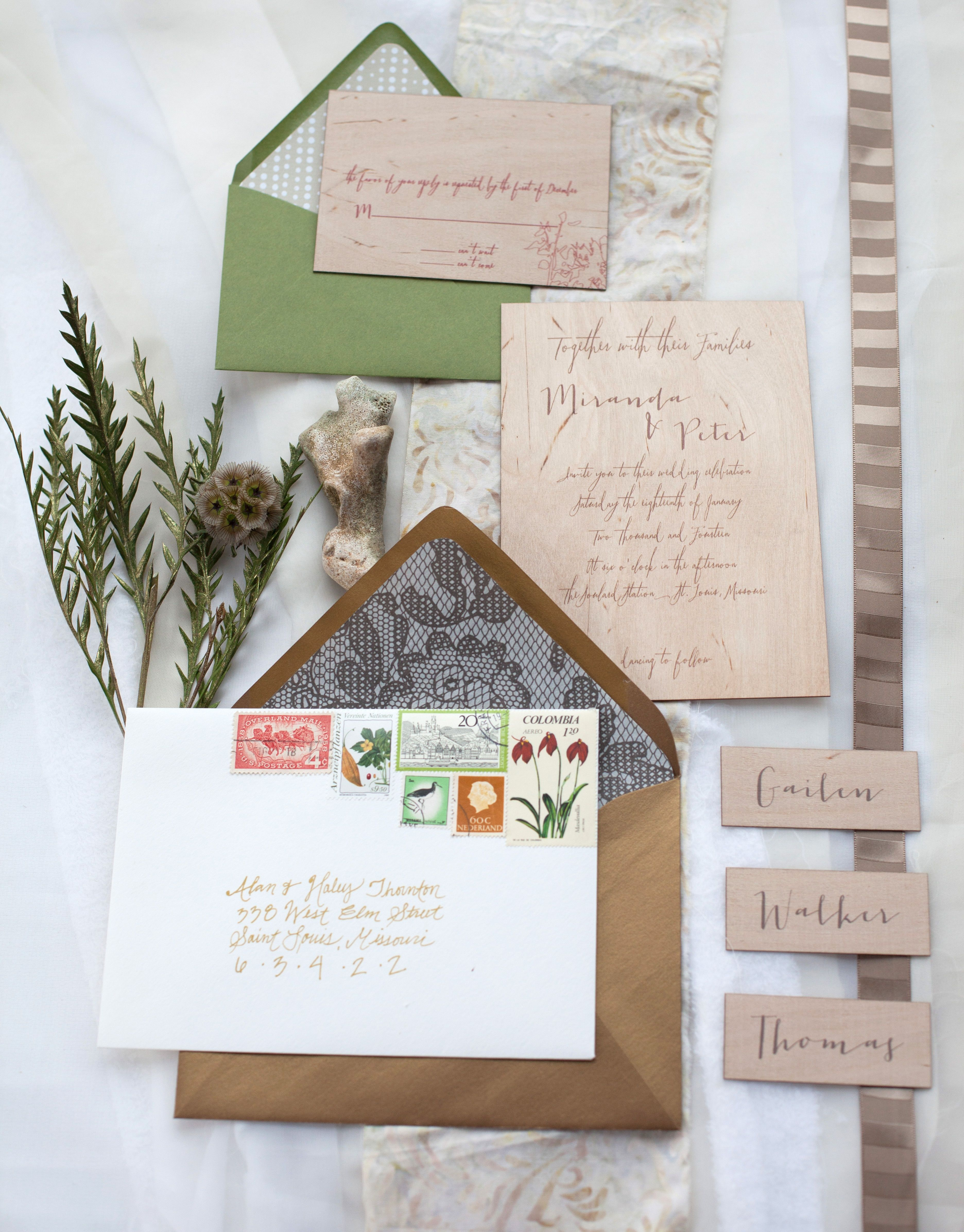 Woodgrain Wedding Invitations Moondance Photography