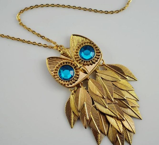 Gold Tone Leaves Owl Pendant Long Chain Necklace Accessories