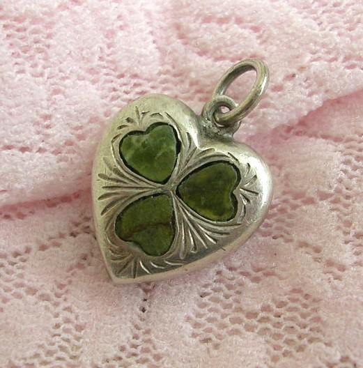 Antique Sterling Silver Heart Charm Irish Connemara Marble