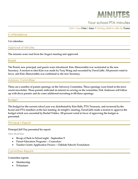 PTA Meeting Minutes PTA Pta Meeting Office Templates
