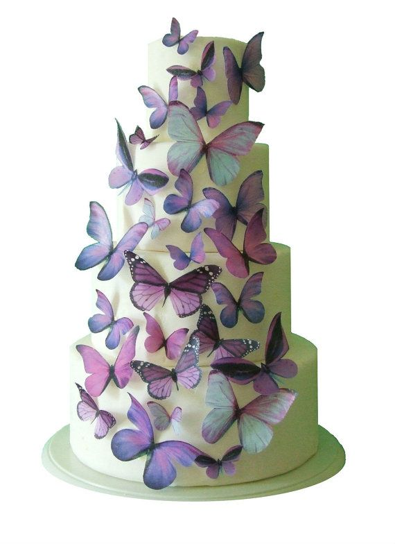 Wedding Cake Topper Edible Erfly Winter Decorations 30 Purple Erflies For Cakes And Cupcakes