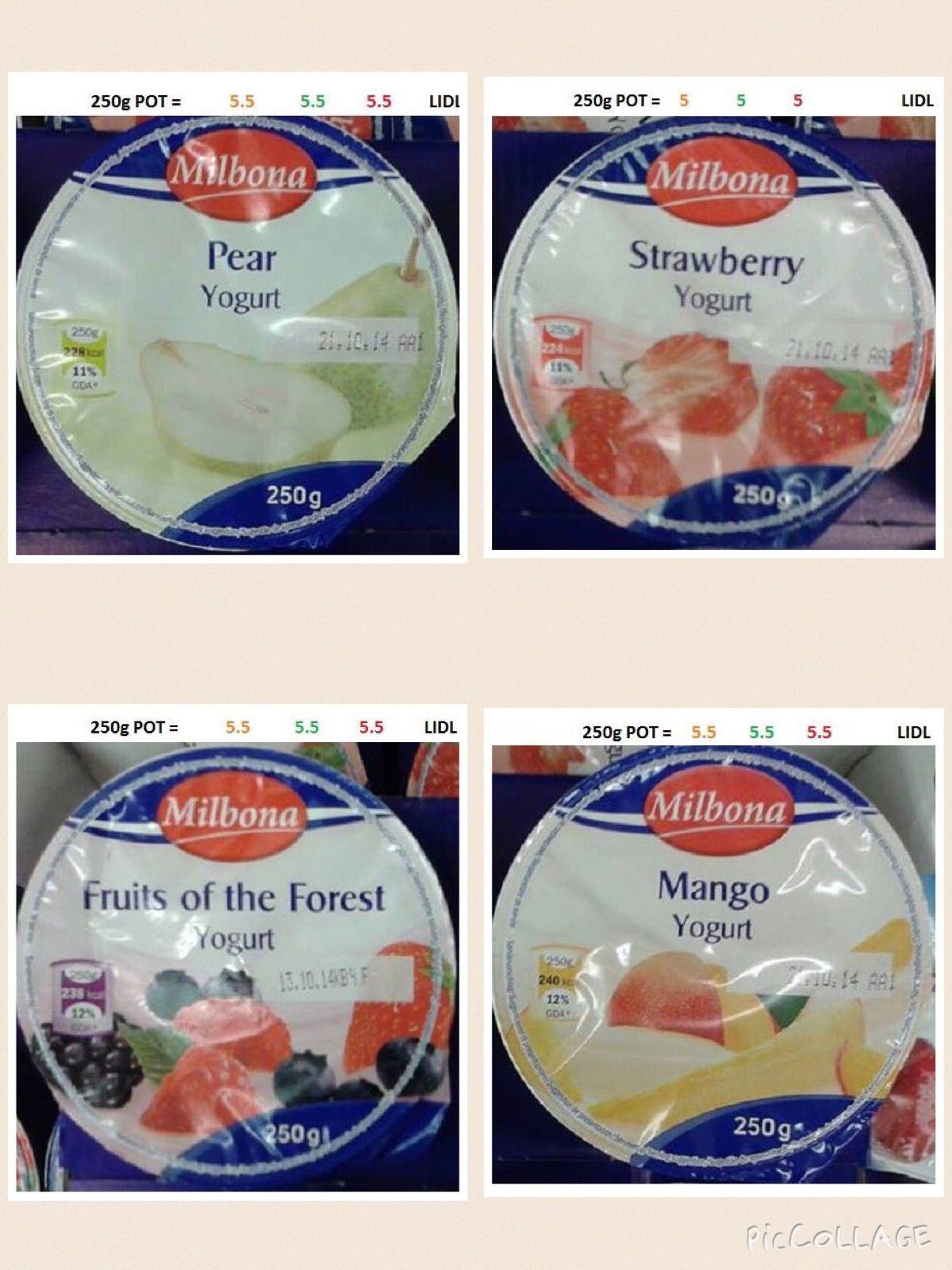 Lidl - Milbona Yogurts | Slimming recipes, Slimming world ...