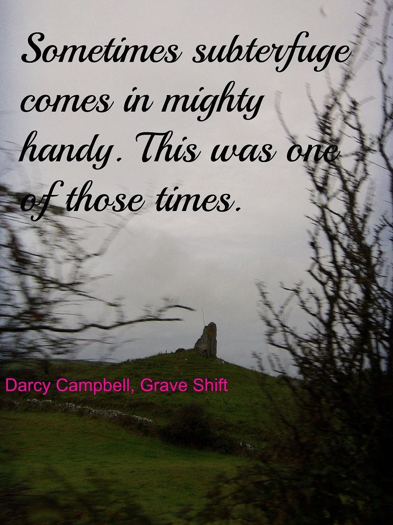 This is a quote from Darcy Campbell. As usual, she is in a peck of trouble in Grave Shift.