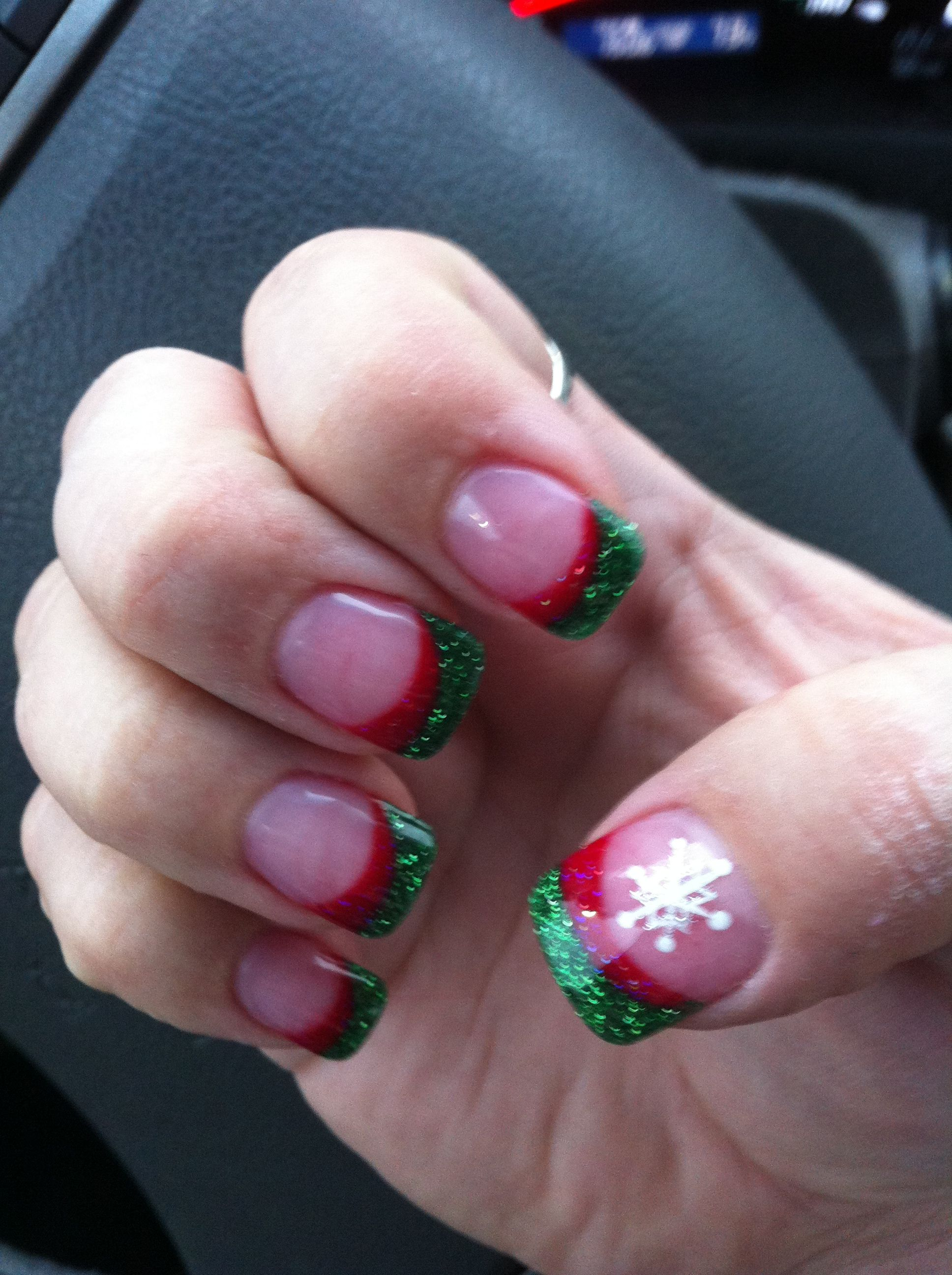 Christmas red & green acrylic tips   Nails   Pinterest