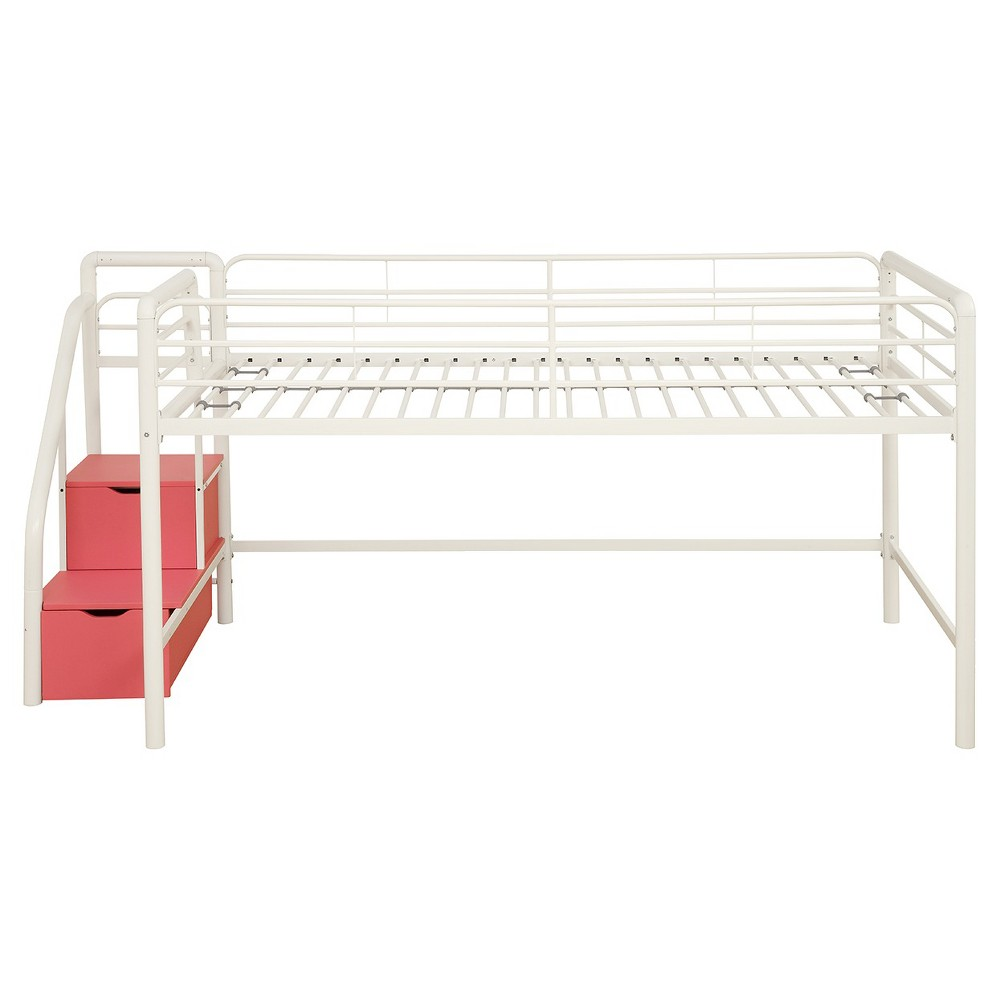 Mobby loft bed with stairs  Junior Loft Bed with Storage Steps  Twin White  Dhp WhitePink