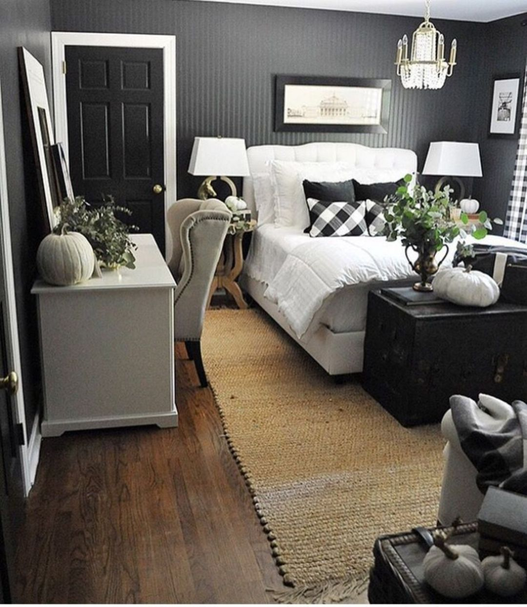 Bedroom Black And White Color Scheme Bedroom Waste Bins One Wall Bedroom Paint Ideas Bedroom Design Natural Style: 30 Chic Stylish Bedroom With Black And White Color Schemes