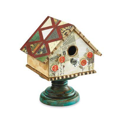 Mixed Media Birdhouse - Use found objects around your home to decorate a wooden birdhouse.