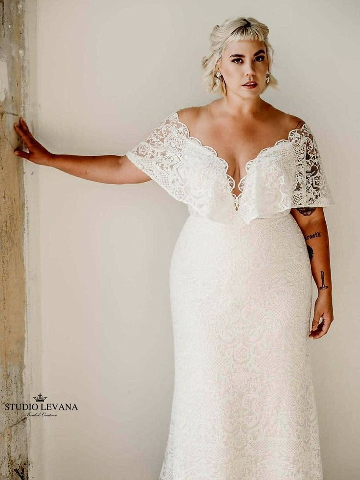Bohemian Light Plus Size Wedding Dress With Deep V Neckline And Short Flutter Sleev Plus Wedding Dresses Plus Size Wedding Dresses With Sleeves Wedding Dresses