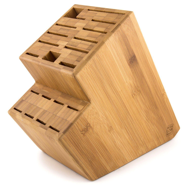 Amazon.com: MEGALOWMART 18 Slot Bamboo Wood Kitchen Knife Block Stand Holder: Kitchen & Dining