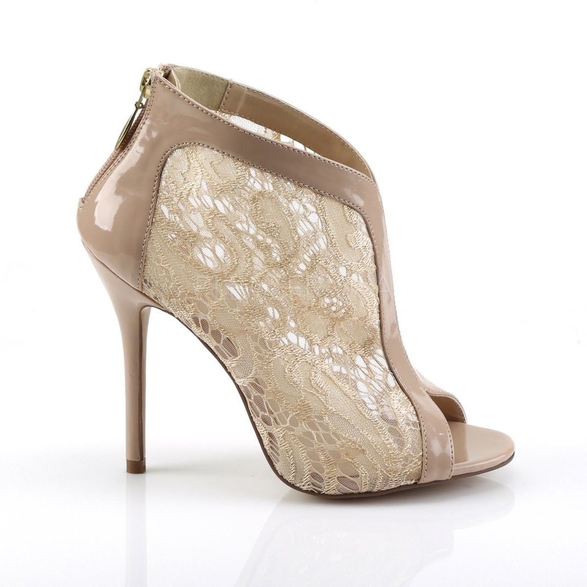 Amuse-48 Open Toe Bootie With Lace Overlay Patent Trim FABULICIOUS By Pleaser