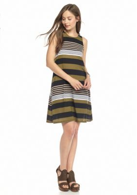 Almost Famous  Sleeveless Striped Swing Dress