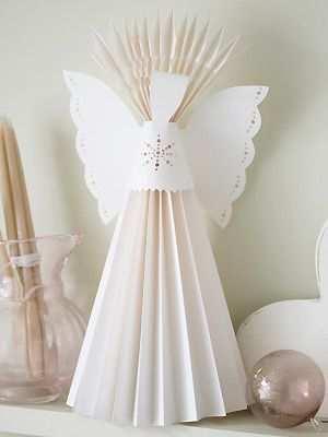 Como hacer un angel navideño de papel