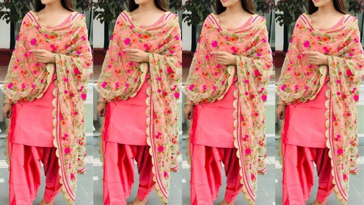 Plain Suits With Printed Dupatta Designs 2020 Printed Dupatta On Plain In 2020 Latest Suit Design Latest Punjabi Suits Design Fashion