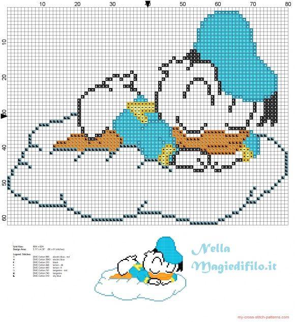 Baby Paperino che dorme sulla nuvola - schemi punto croce gratis ...