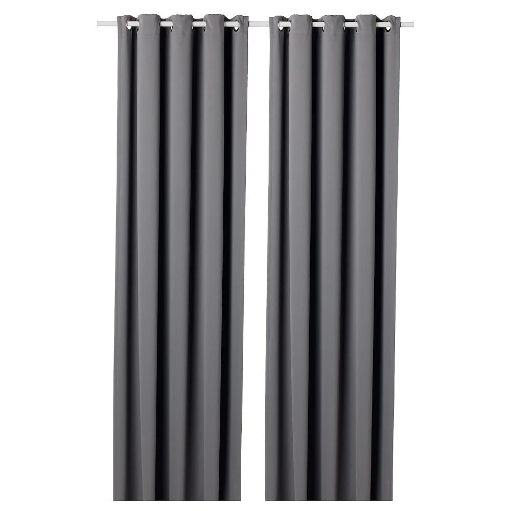 Hilleborg Grey Block Out Curtains 1 Pair 145x250 Cm Ikea In 2020 Block Out Curtains Curtain Rods Blackout Curtains
