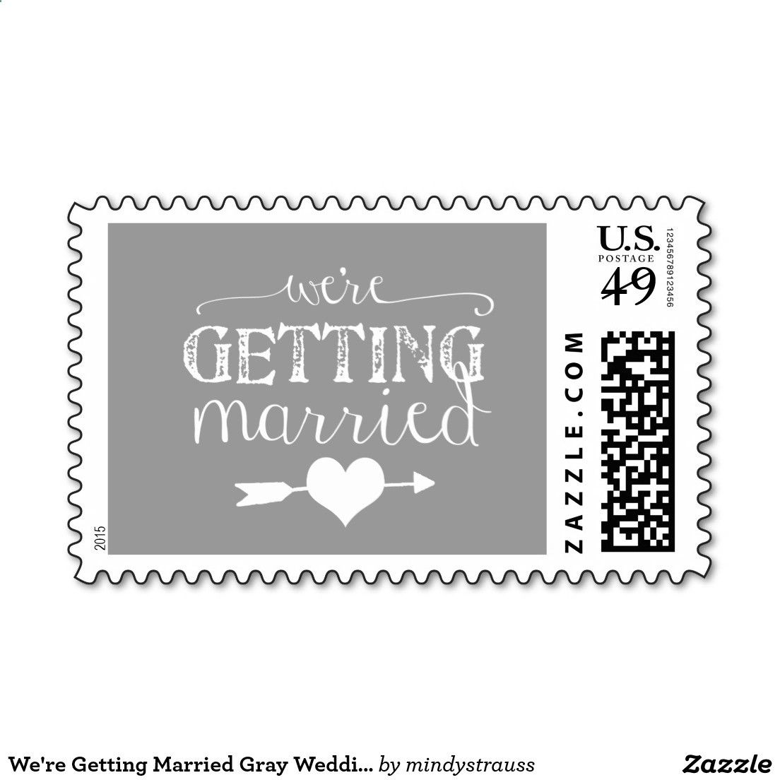 Were Getting Married Gray Wedding Postage with heart and arrow. Wedding postage stamp for engagement parties, wedding invations and jack and jill showers. Gray and white