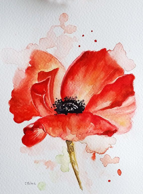 Original Watercolor Red Poppy Flower Floral Watercolor 6x8 Inch