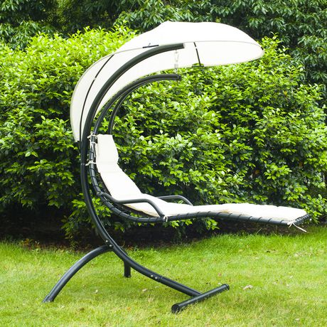 Outsunny Outdoor Hanging Swing Chair With Waterproof Canopy White